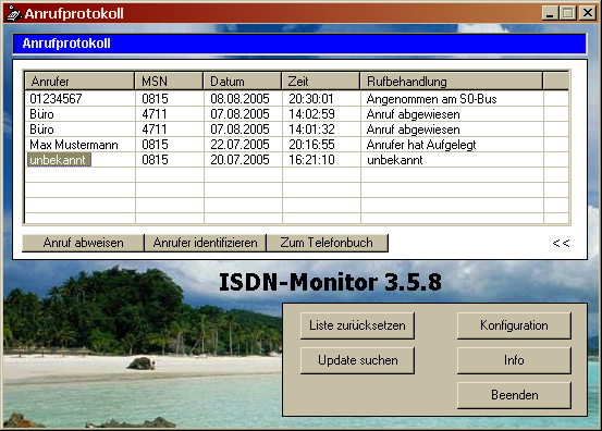 Screenshot of ISDN-Monitor